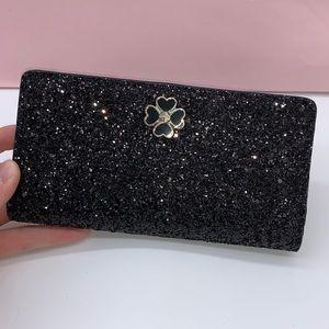 Kate Spade ♠️ Black Sparkle Bifold Wallet NWT!
